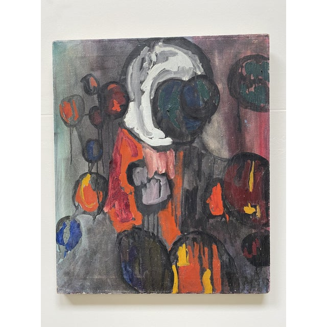 Canvas 1960s Abstract Figurative Oil Painting For Sale - Image 7 of 7