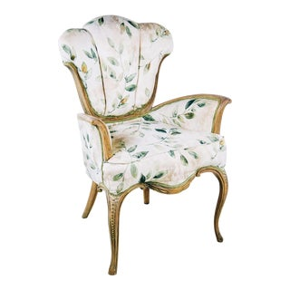 French Shell Back Floral Upholstered Arm Chair