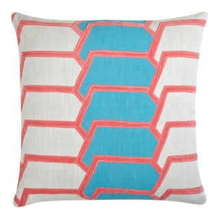 """Piper Collection Pink and Turqoise """"Charley"""" Pillow For Sale"""