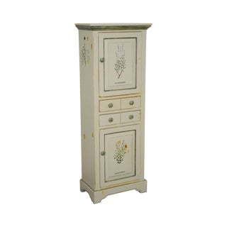 American Heritage Furniture Hand Painted Narrow Cupboard Cabinet
