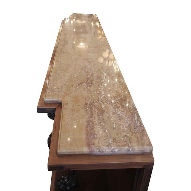 Mid 20th Century Vintage Marble Top Walnut Console Table For Sale - Image 6 of 8