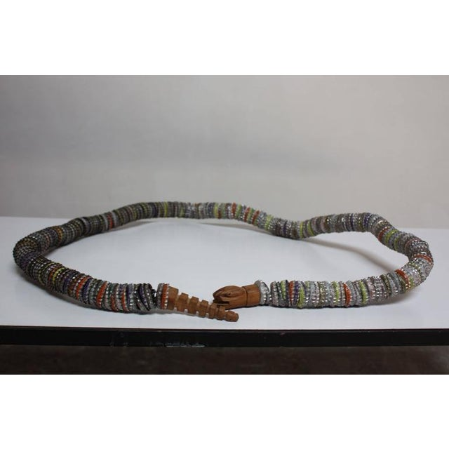 Folk Art Carved Wood and Bottlecap Snake after Felipe Archuleta - Image 7 of 10