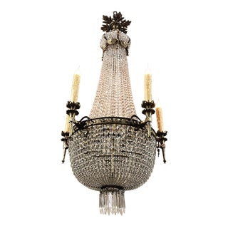 Antique Sack of Pearls Crystal Chandelier For Sale