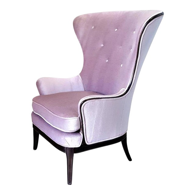 Mid-Century Modern Lilac Mohair & Mahogany Wingback Chair - Image 1 of 8