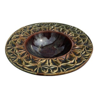 John Ransmeier Contemporary Modern Brown and Green Glazed Pottery Ceramic Bowl, Signed For Sale