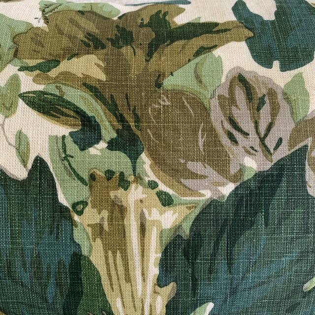 "2020s John Rosselli Michael Smith Jasper ""Grace"" Verdant Green Botanical Linen Pillow For Sale - Image 5 of 6"