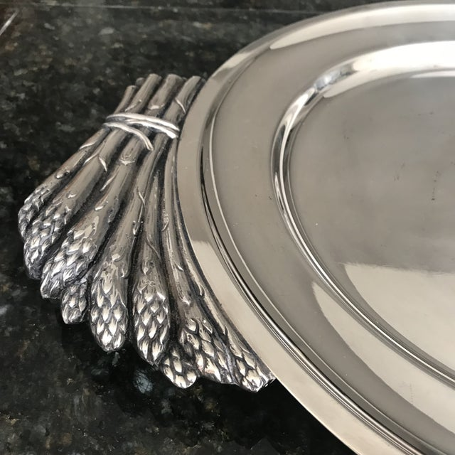 "1970s Italian ""Teghini Firenze"" Silver Plated Serving Platter With Asparagus Handles For Sale - Image 5 of 7"