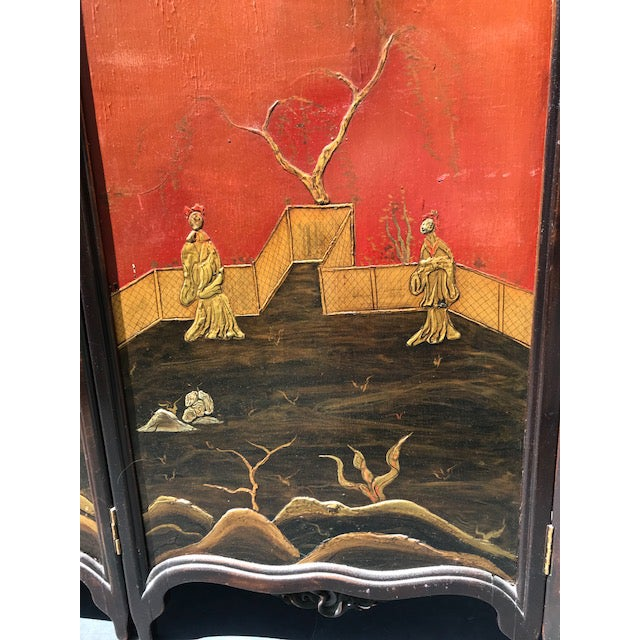 Victorian Art Nouveau 3-Panel Screen For Sale - Image 10 of 12