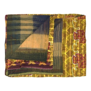 Rug & Relic Kantha Quilt in Stripes and Golden Flowers For Sale