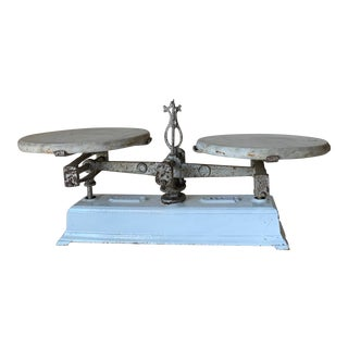 Antique 1920s Iron and Marble Balance Scale For Sale