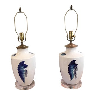Modern Chinese Blue and White Pottery Lamps - a Pair