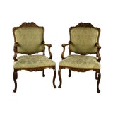 Image of Early 20th C. French Provincial Carved Oak Armchairs- A Pair For Sale