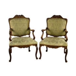 Early 20th C. French Provincial Carved Oak Armchairs- A Pair For Sale