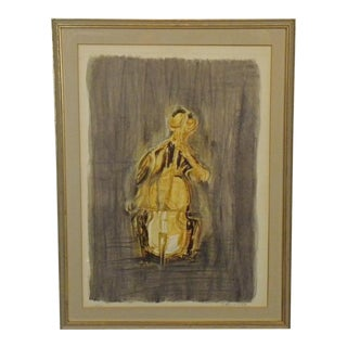 Numbered Litho Abstract Cellist by Joseph Kossonogi For Sale
