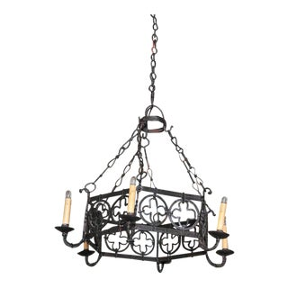 19th Century French Gothic Hexagonal Black Wrought Iron Six-Light Chandelier For Sale