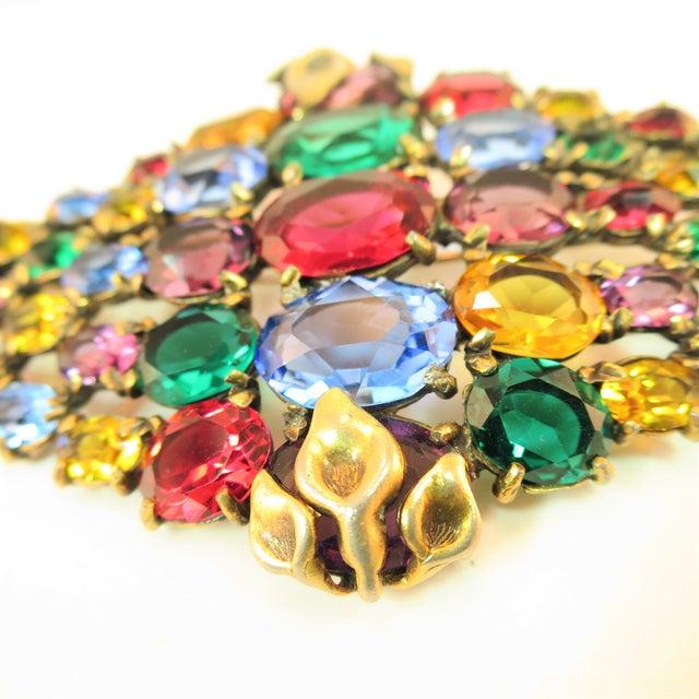 Czech Art Deco Jewel-Tone Bohemian Crystal Brooch 1920s For Sale In Los Angeles - Image 6 of 12