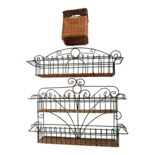 Late 20th Century Wicker and Green Metal Wire Wall Shelves - 3 Pieces For Sale