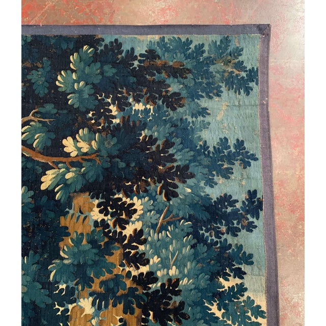 Mid-18th Century French Verdure Aubusson Tapestry With Trees and Foliage For Sale - Image 11 of 13