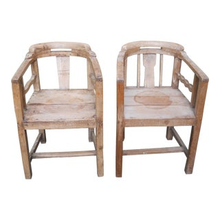 Indian Colonial Art Deco Teak Chairs - a Pair