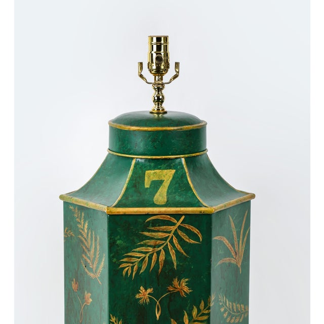 Green Vintage English Export Painted With Ferns Leave Style Green Hexagonal Tea Caddy Lamp For Sale - Image 8 of 9