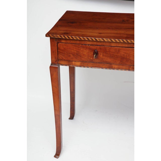 18th Century Italian Cherry Table With Parquetry Border and Two Drawers For Sale In New York - Image 6 of 10