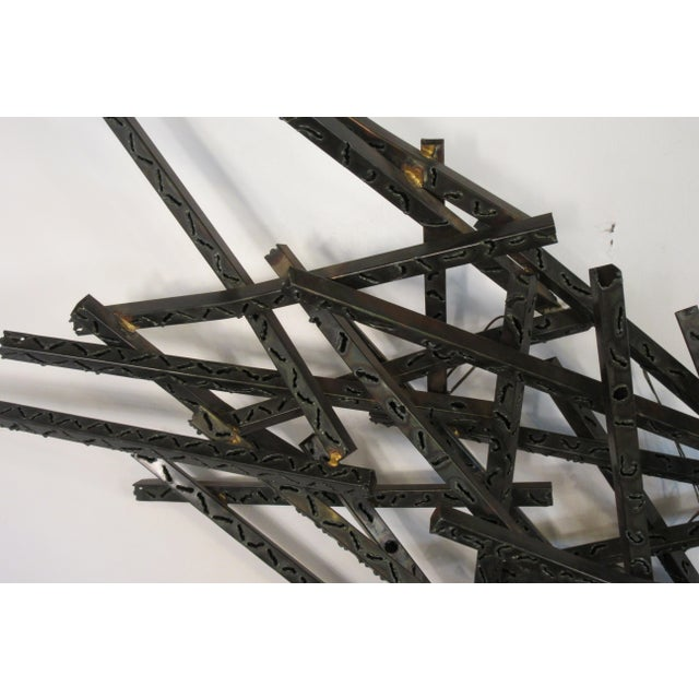 Black 1970s Industrial Metal Wall Sculpture For Sale - Image 8 of 13