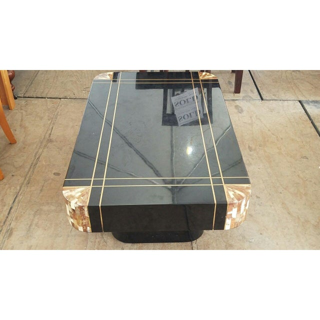 Mid-Century Modern Mid-Century Black Lacquer Inlaid Brass and Tessellated Horn Coffee Table For Sale - Image 3 of 10