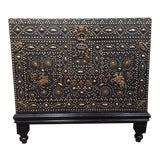 Image of 18th Century French Gothic Leather & Nails Trunk on Carved Wood Base For Sale