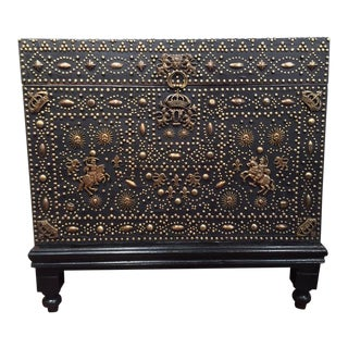 18th Century French Gothic Leather & Nails Trunk on Carved Wood Base For Sale