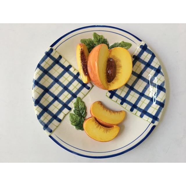 Trompe l'Oeil Decorative Blue Plaid Peach Plate For Sale - Image 10 of 10
