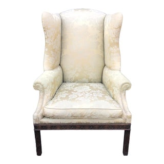Unusual Dennis & Leen George III Style Wingback Chair W Silk Damask & Down Cushion For Sale