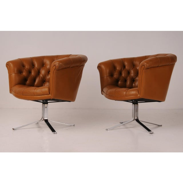 Leather Tufted Swivel Chairs in Carmel Leather by Nicos Zographos - A Pair For Sale - Image 7 of 12