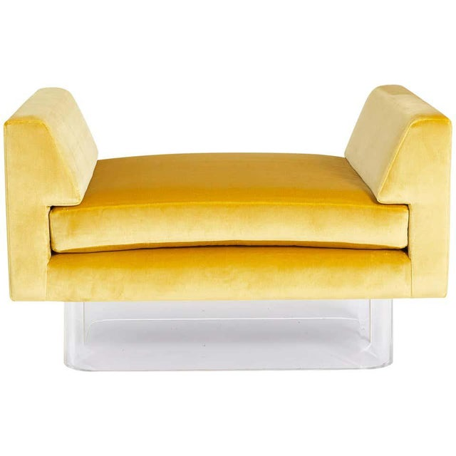 Plastic Lucite and Yellow Silk Velvet Bench For Sale - Image 7 of 7