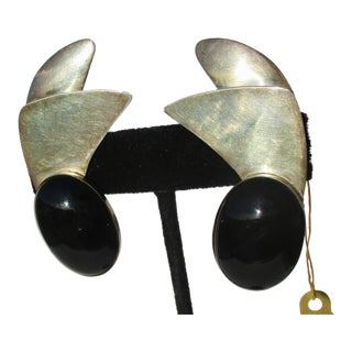 Black Onyx and Sterling Clip on Earrings For Sale