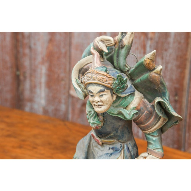 Asian Vintage Chinese Trader Ceramic Figurine For Sale - Image 3 of 8