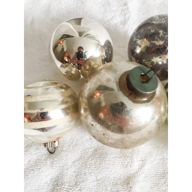 Vintage Mercury Glass Christmas Ornaments - Set of 6 - Image 4 of 5