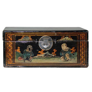 Hand Painted Vintage Chinese Jewelry Box For Sale