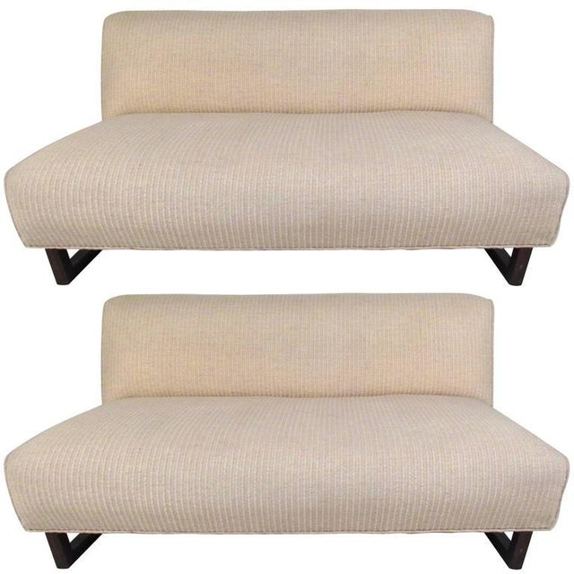 Vintage Modern Sled Leg Slipper Sofas - A Pair - Image 3 of 10
