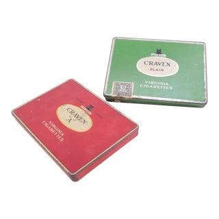 Antique Craven Tobacco Cigarette Tins - a Pair For Sale