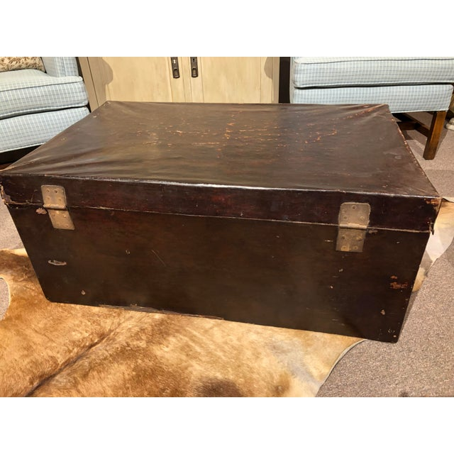19th Century Chinese Leather Trunk For Sale - Image 9 of 13