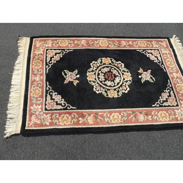 """Asian Vintage Oriental Asian Black W Pink Floral Print Area Rug 43"""" X 75"""" For Sale - Image 3 of 13"""