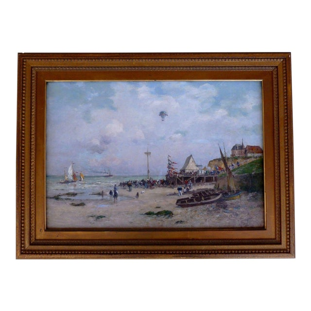 19th C French Impressionist Coastal Scene W Hot Air Balloon Painting For Sale