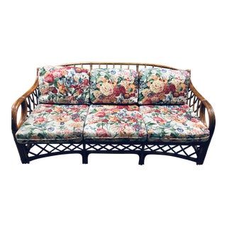 Vintage Lane/Venture Bamboo Rattan Indoor/Outdoor Sofa For Sale