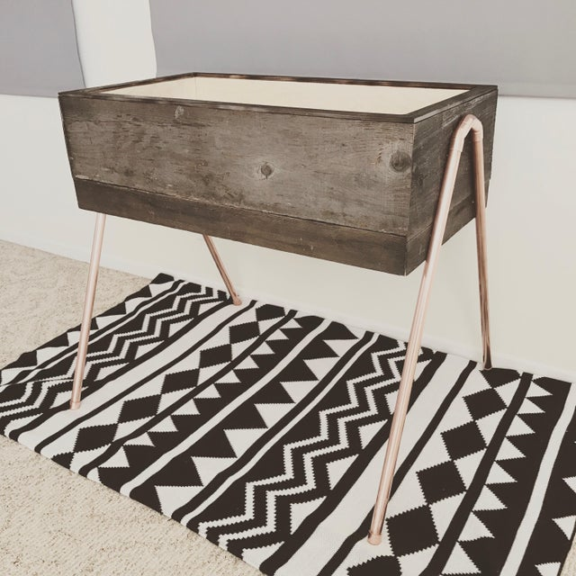 Reclaimed Wood & Copper Baby Bassinet - Image 2 of 5