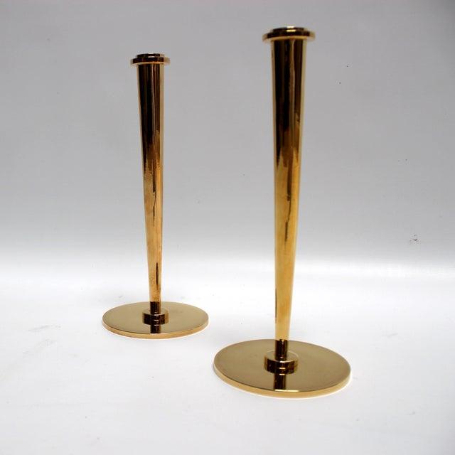 Mid-Century Modern Bronze Candlesticks - Pair - Image 5 of 8