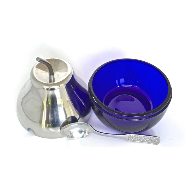 English Traditional Cobalt & Chrome Jelly Pot & Spoon For Sale - Image 3 of 10