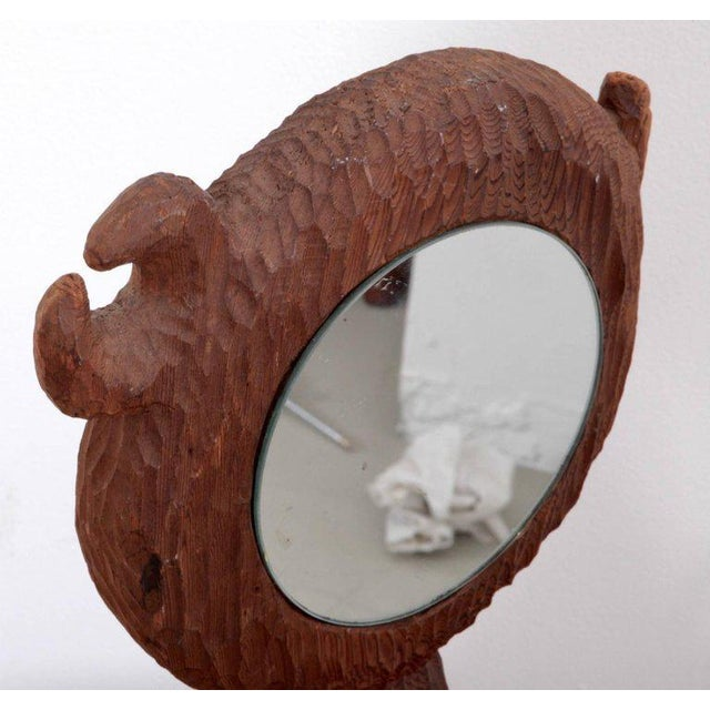 Hand-carved solid redwood sculpture with mirror by Jdmz. A 1960s studio piece in excellent condition.