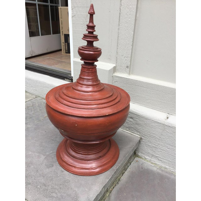 Asian Sculptural Burmese Terra Cotta Colored Wood Offering Urn For Sale In Chicago - Image 6 of 8