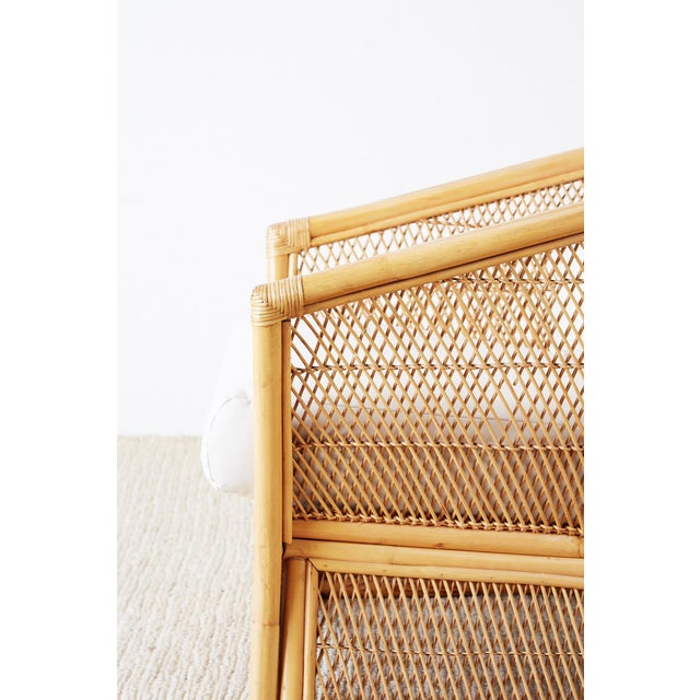 Midcentury Bamboo Rattan Wicker Lounge Chair For Sale - Image 10 of 13