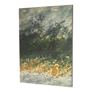 Marie Danielle Leblanc, Ile Perot, Vertical Abstract Landscape, Green, Yellow, White, Hi-Gloss 2015 For Sale